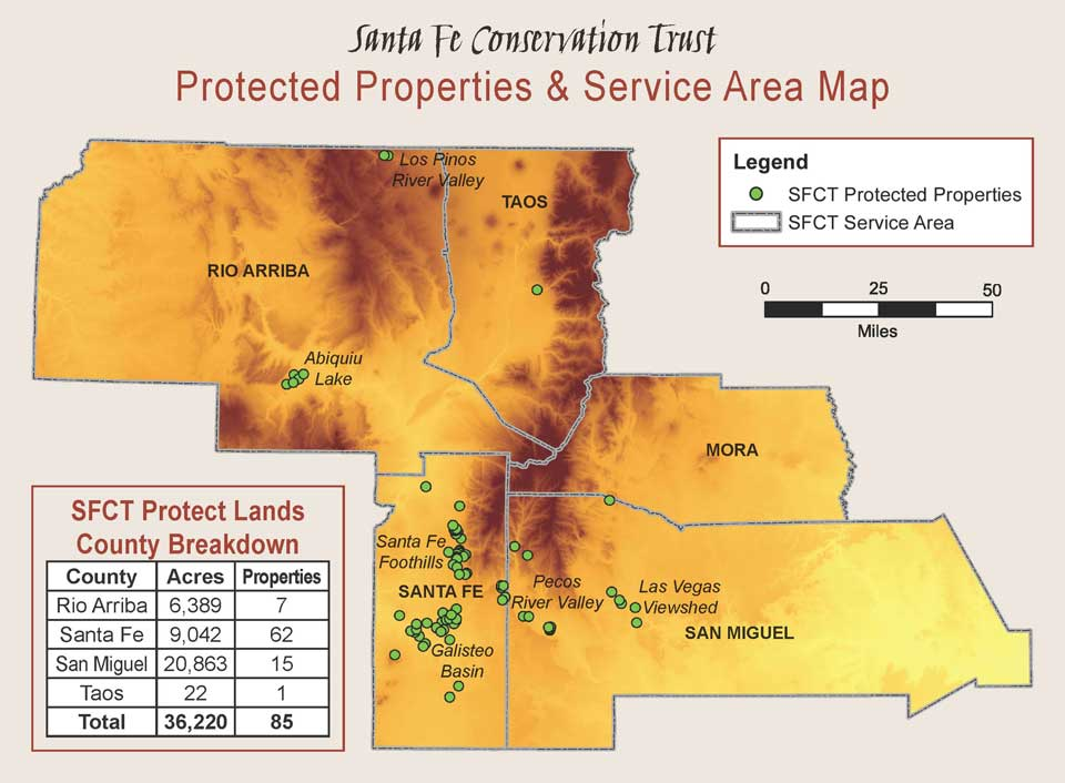 Santa Fe Conservation Trust Protected Properties and Service Area Map