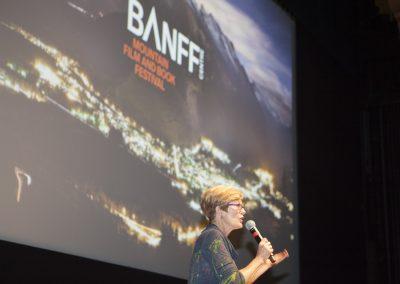 Banff Road Warrior Debra Hornsby with Banff Background